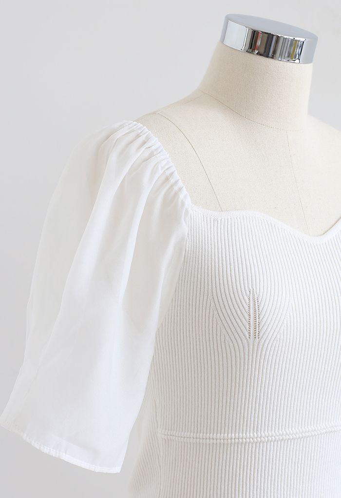 Sweetheart Neck Spliced Sleeve Crop Knit Top in White