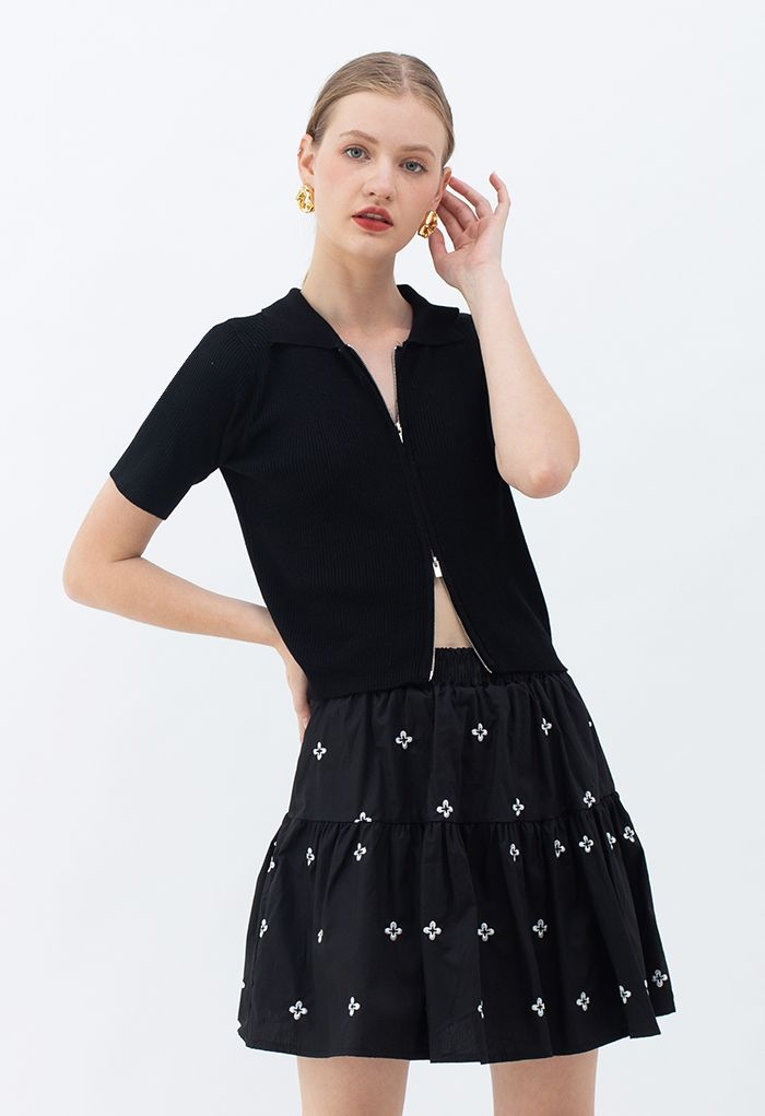 Double Zippers Short Sleeve Rib Knit Cardigan in Black