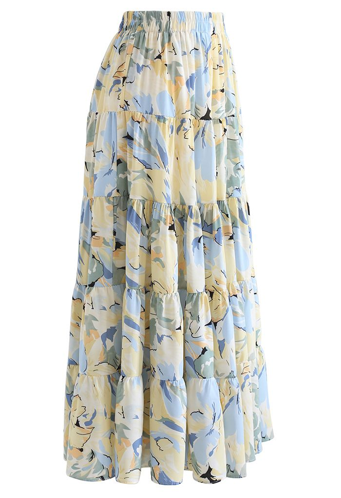 Wondrous Floral Frilling Chiffon Maxi Skirt in Blue