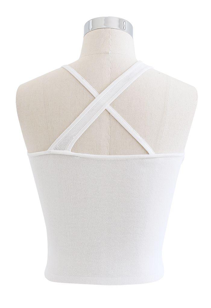 Strappy Knit Bra Top in White
