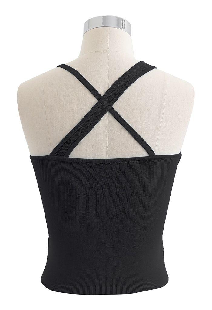 Strappy Knit Bra Top in Black