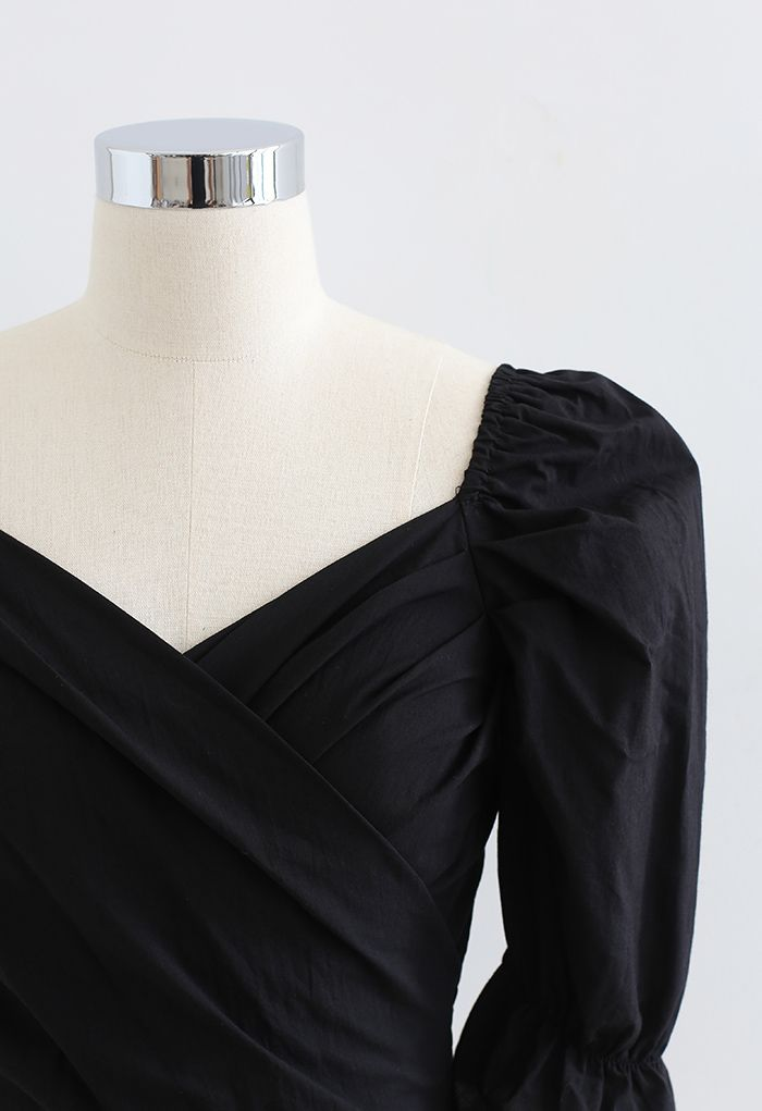 Wrap Front Shirred Crop Top in Black