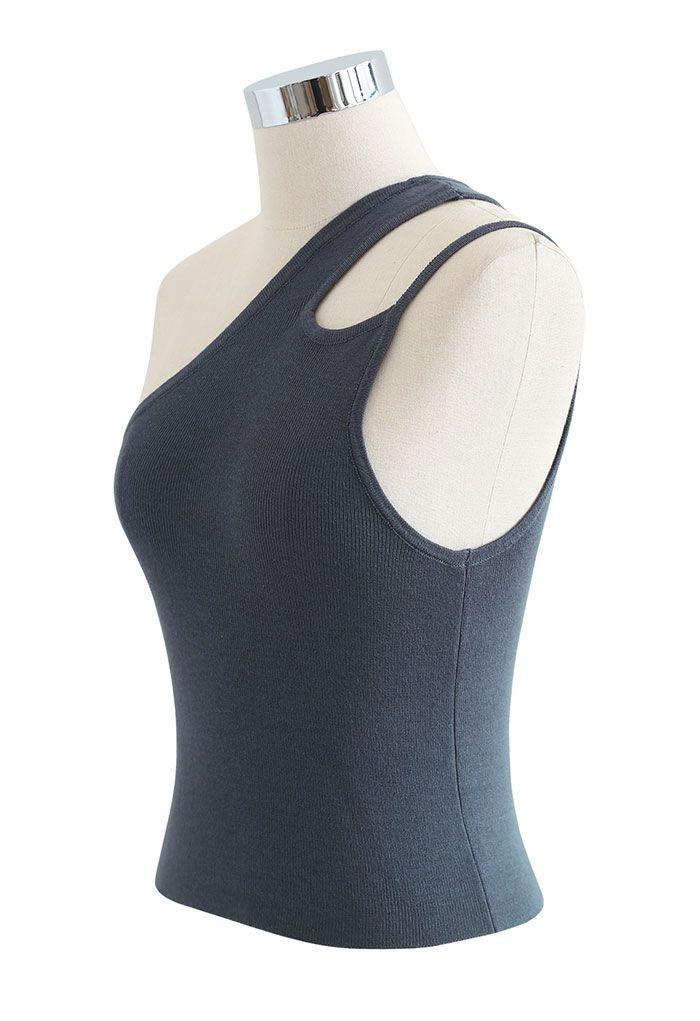 Dual Strap One-Shoulder Crop Knit Top in Grey
