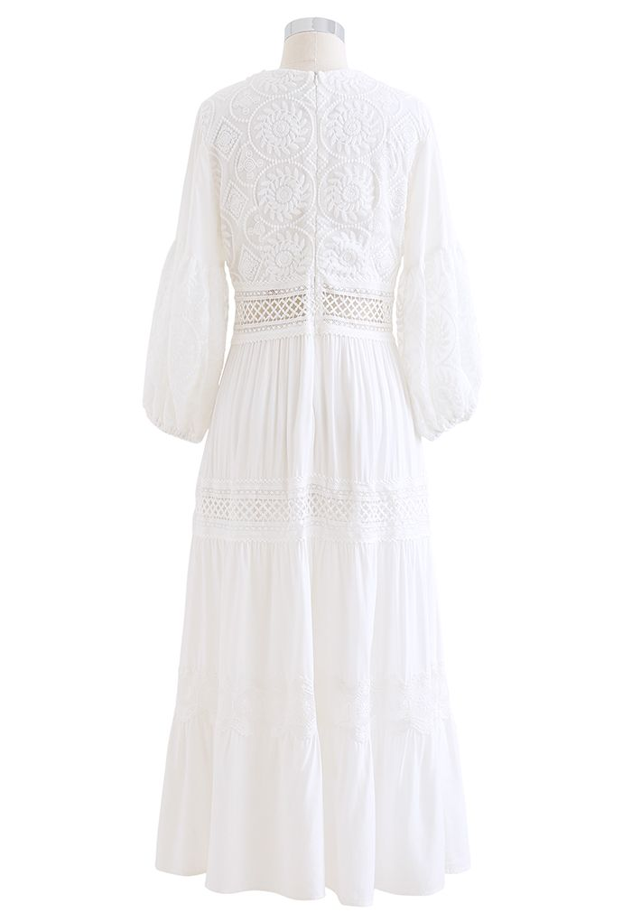 Sunflower Embroidered Lace-Up Front White Maxi Dress