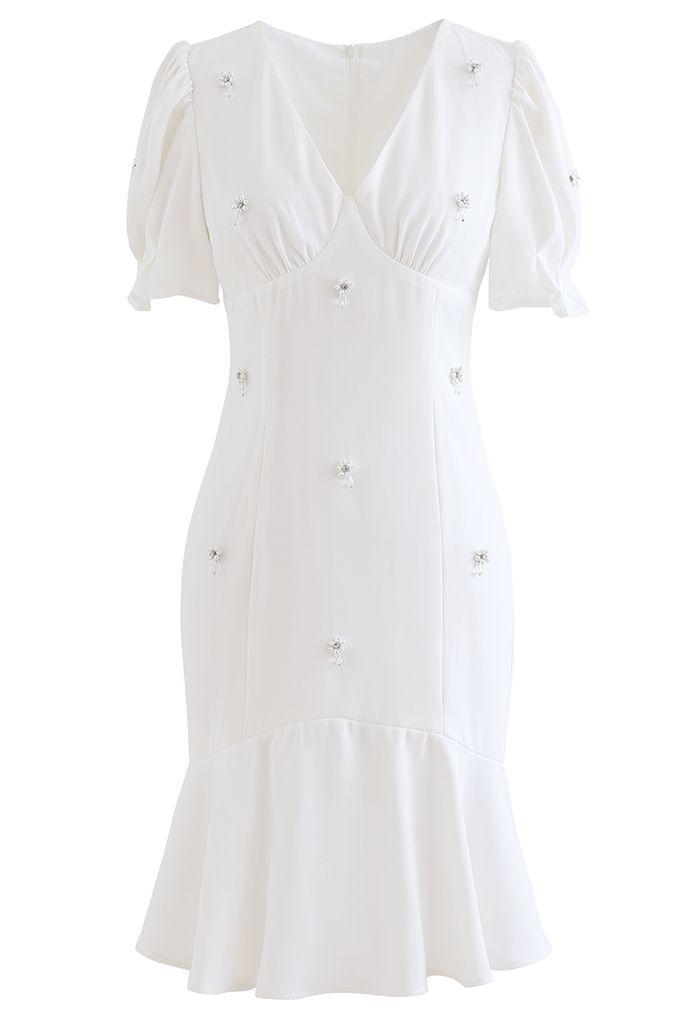 Crystal Embellished Frilling Dress in White