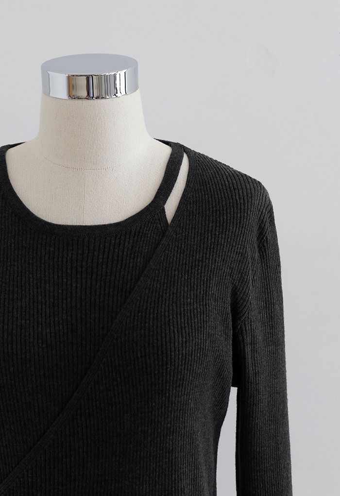 Button Wrapped Knit Top in Black