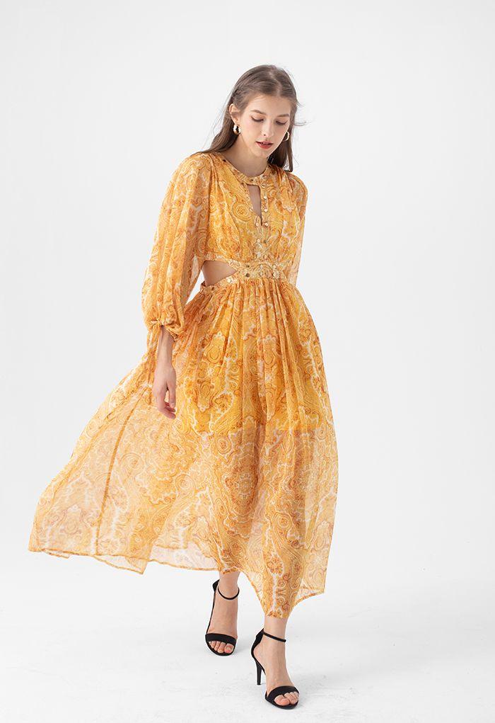 Paisley Print Cut Out Maxi Dress