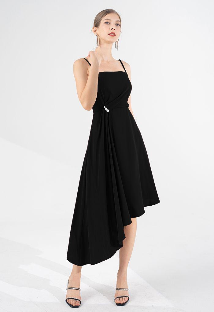 Pearl Trim Ruched Draped Asymmetric Cami Dress in Black