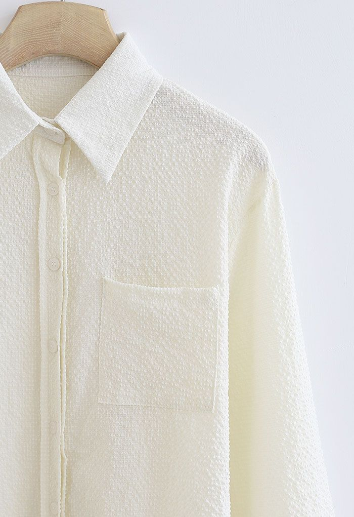 Embossed Button Down Hi-Lo Shirt in Light Yellow