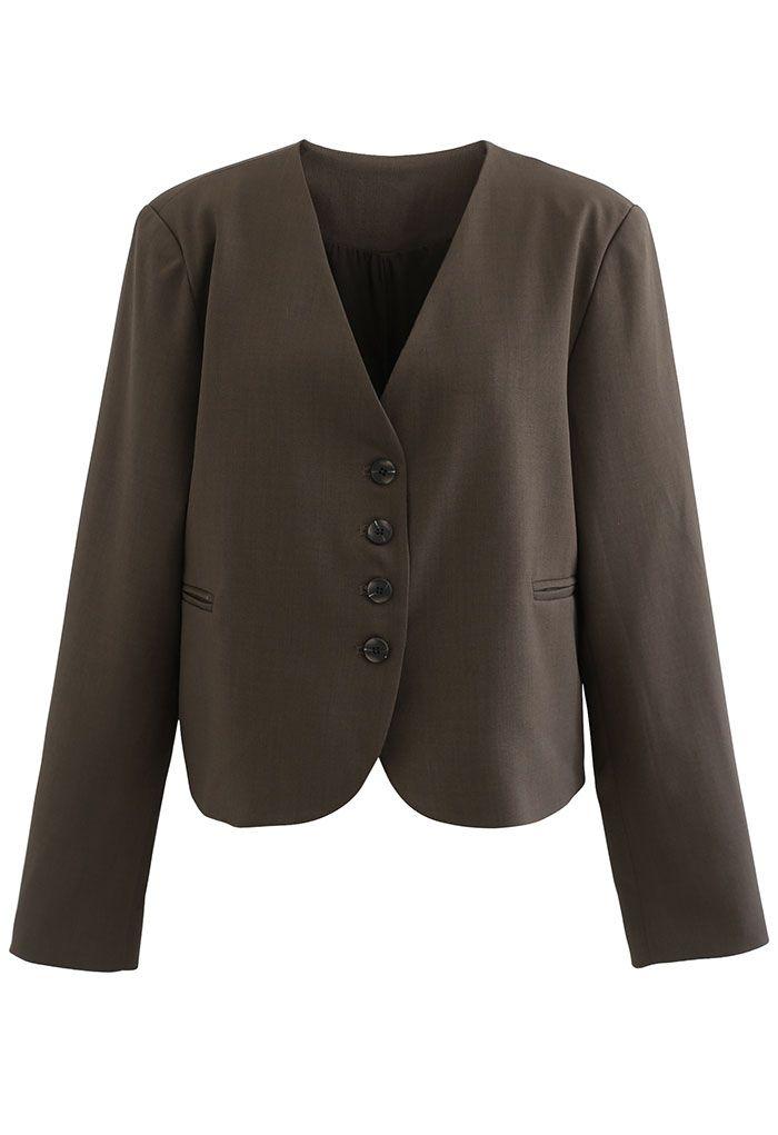 Collarless Pad Shoulder Crop Blazer in Brown