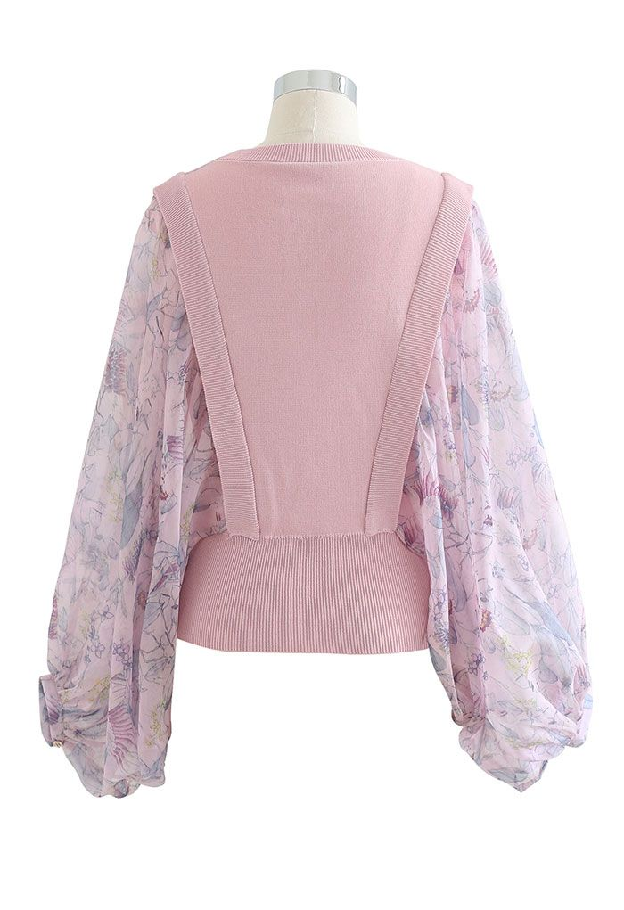 Exaggerated Batwing Mesh Sleeve Knit Top in Pink