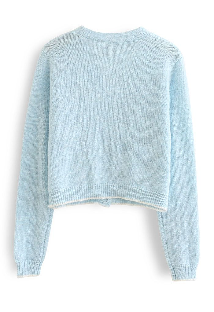 Stitched Flower Knit Cami Top and Cardigan Set in Baby Blue