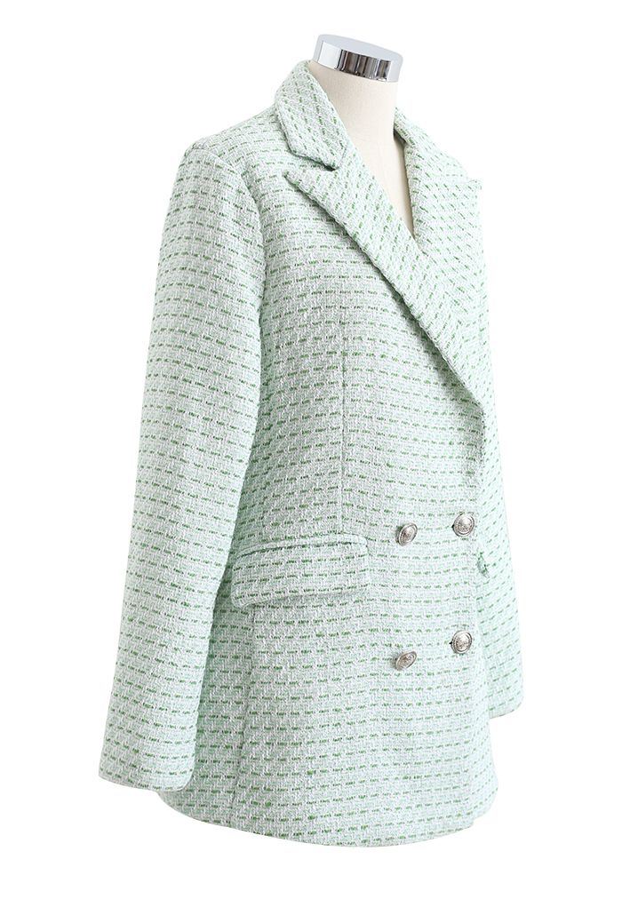 Green Pocket Double-Breasted Tweed Blazer