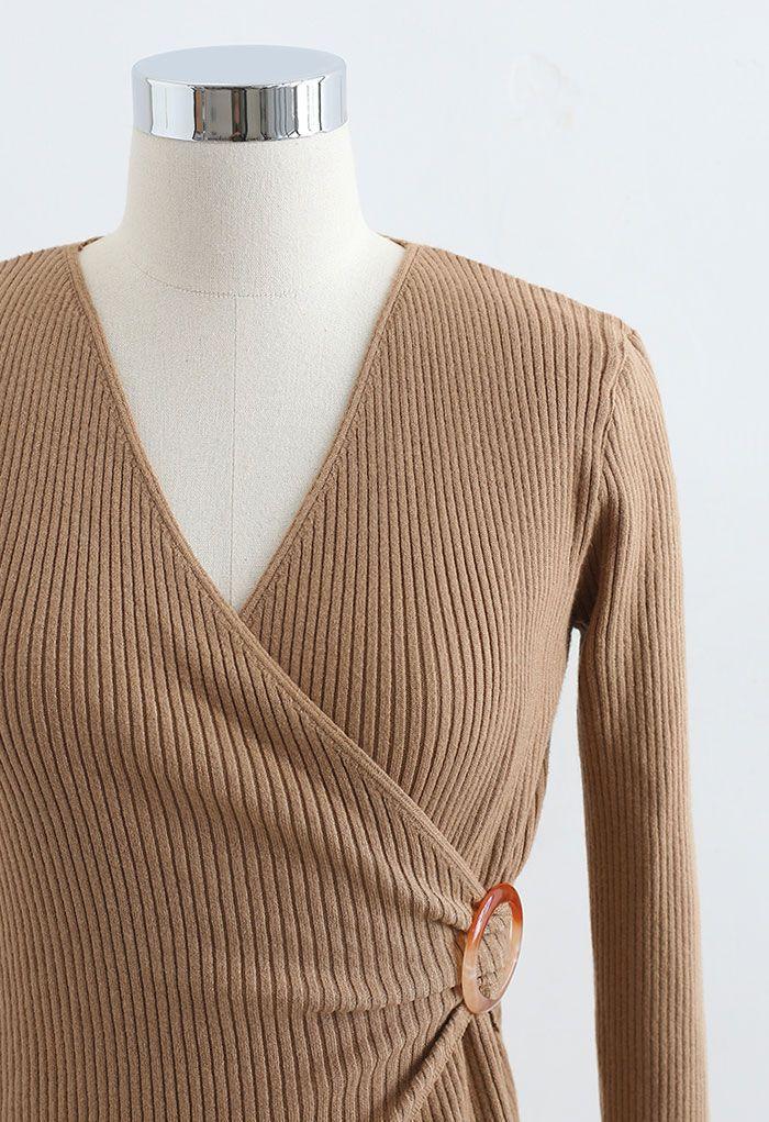 O-Ring Rib Knit Wrap Top in Caramel
