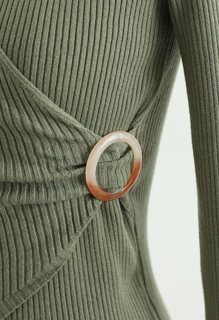 O-Ring Rib Knit Wrap Top in Green