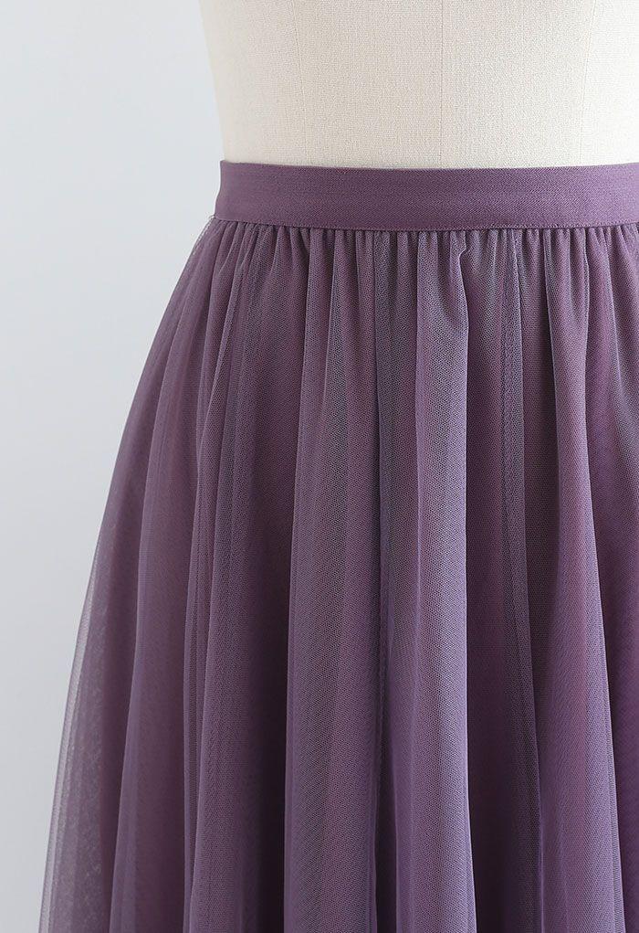 My Secret Garden Tulle Maxi Skirt in Purple