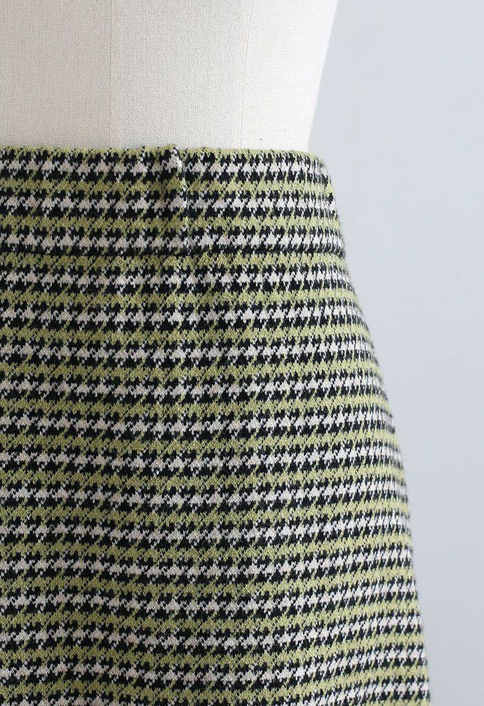 Houndstooth Fringed Hem Knit Midi Skirt in Green