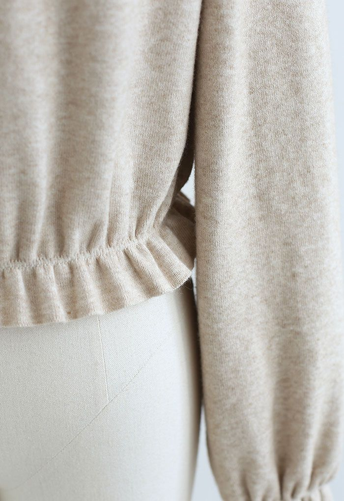 High Neck Ruffle Crop Knit Sweater in Camel