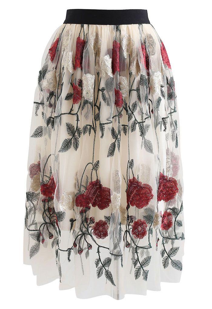 Red Golden Rose Embroidered Mesh Midi Skirt