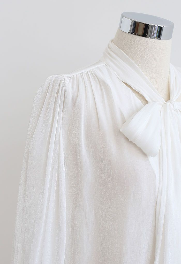 Glossy Tie Neck Button Down Shirt in White