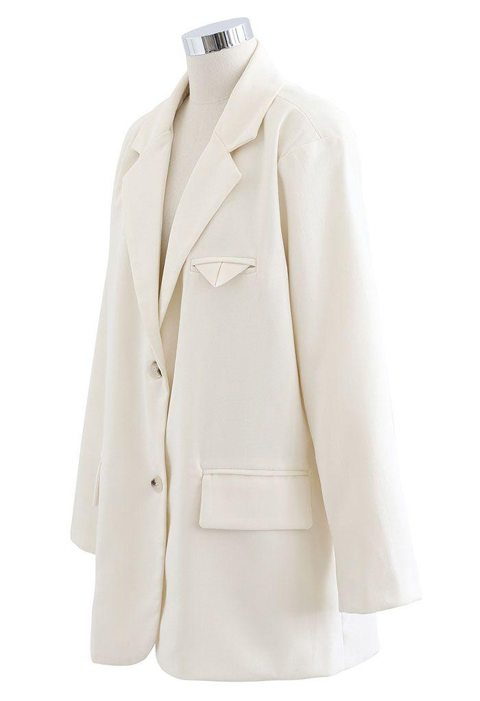 Versatile Button Down Oversized Blazer in Cream