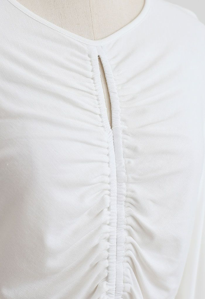 Cutout Detail Elastic Ruched Crop Top in White