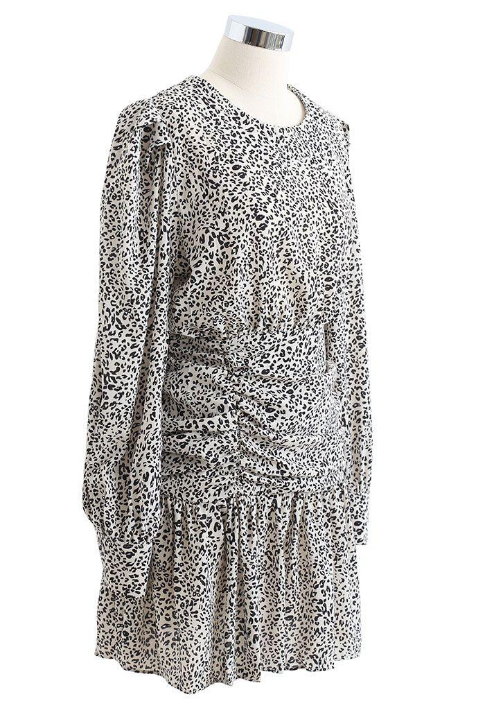 Wild Animal Ruched Frill Hem Mini Dress in Ivory