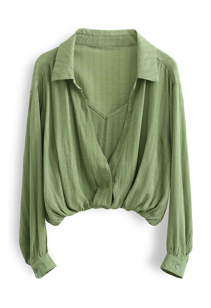 Fake Two-Piece Check Textured Crop Shirt in Green