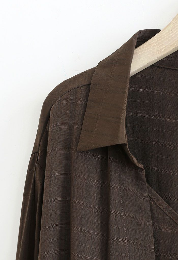 Fake Two-Piece Check Textured Crop Shirt in Brown