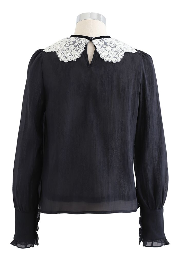 Peter-Pan Collar Tie Bow Lace Organza Top in Black