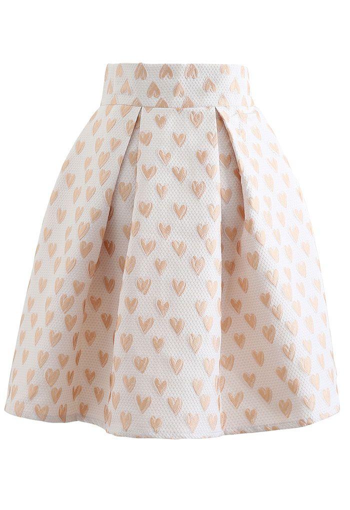 Sweet Heart Jacquard Pleated Skirt in Cream