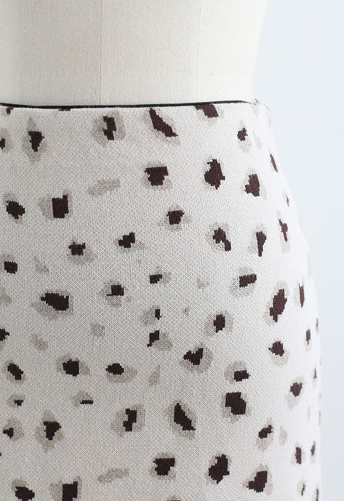 Leopard Print Knitted Bud Skirt in Ivory