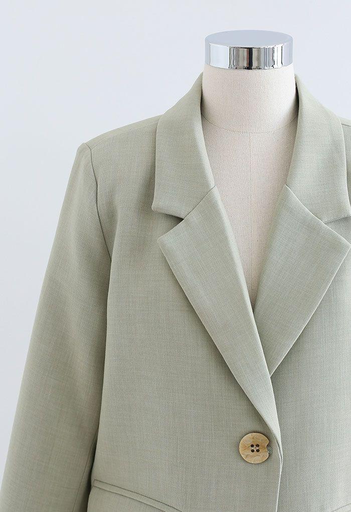 Single Breasted Pad Shoulder Blazer in Pea Green