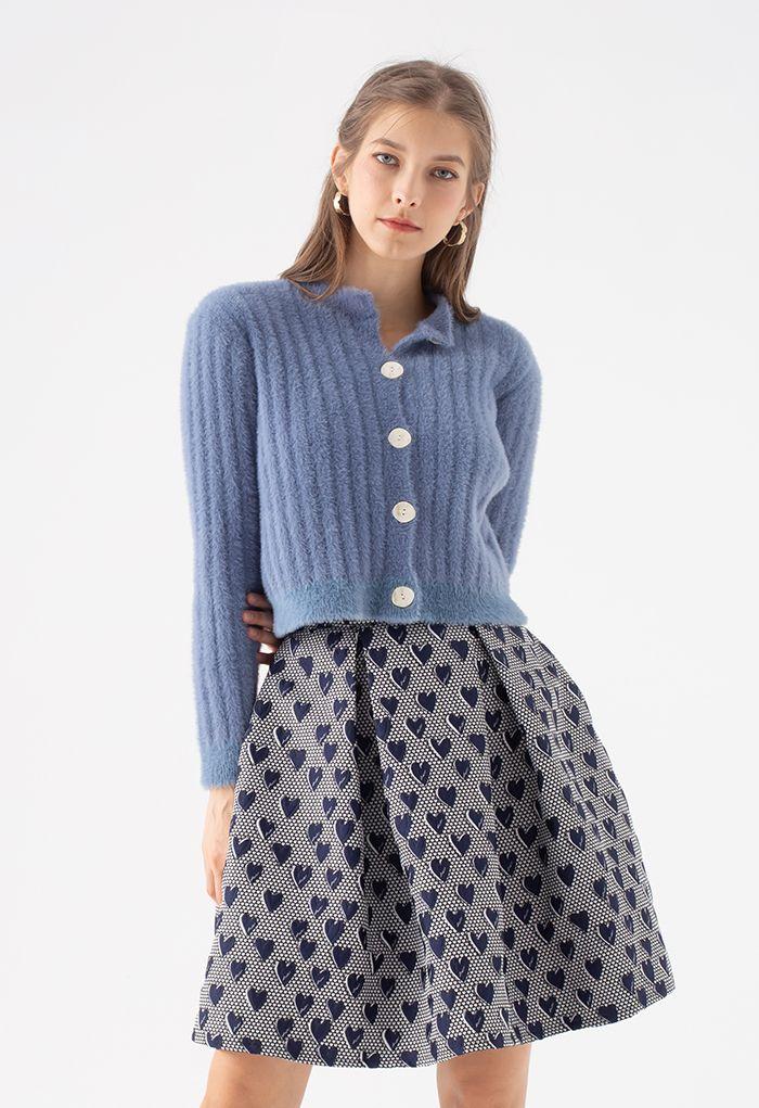 Sweet Heart Jacquard Pleated Skirt in Navy
