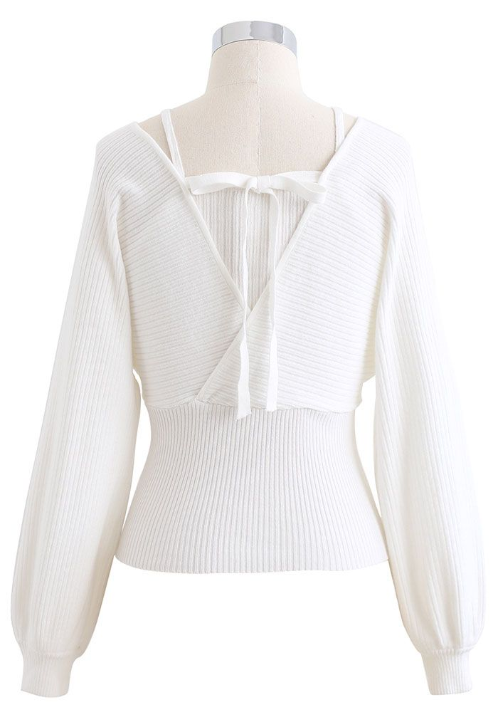 Fake Two-Piece Cold-Shoulder Wrap Knit Top in White