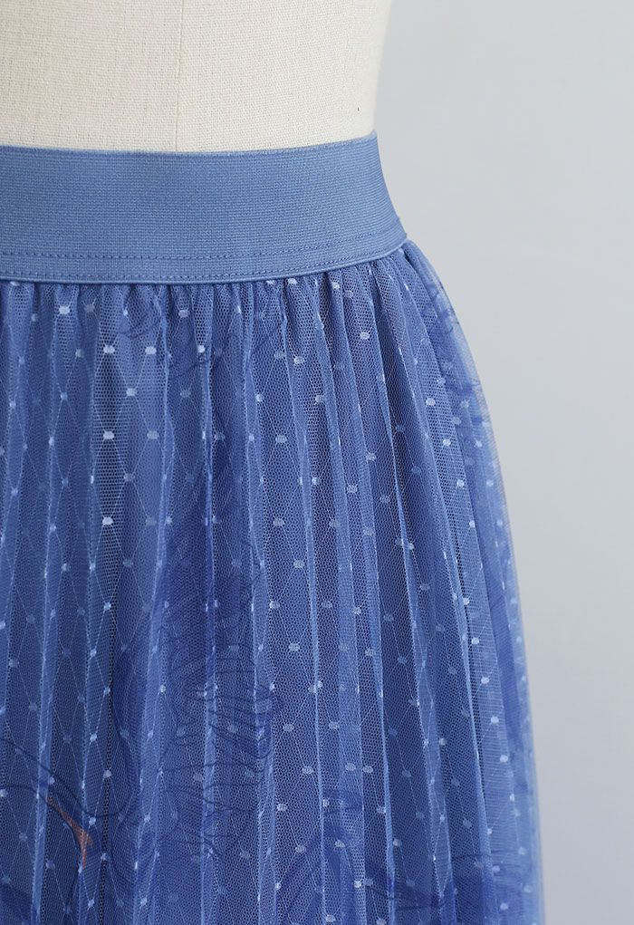 Swan Dotted Mesh Pleated Skirt in Blue