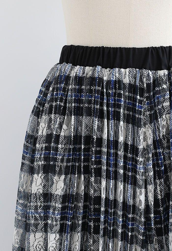 Plaid Print Lacy Pleated Skirt in Indigo