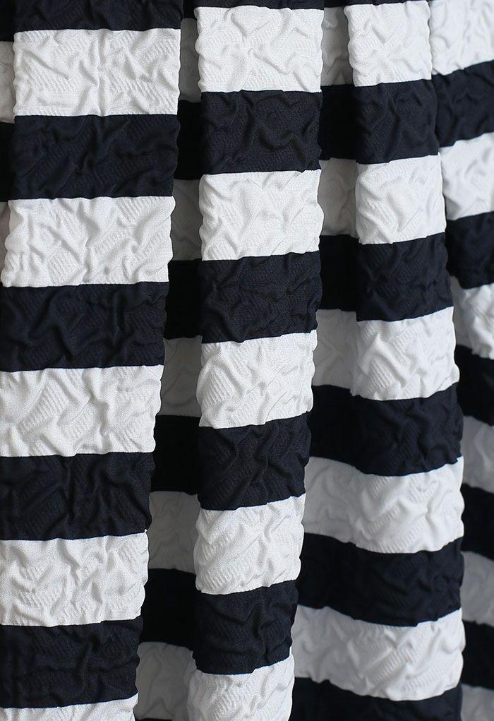 Allover Stripe Print Embossed Pleated Midi Skirt