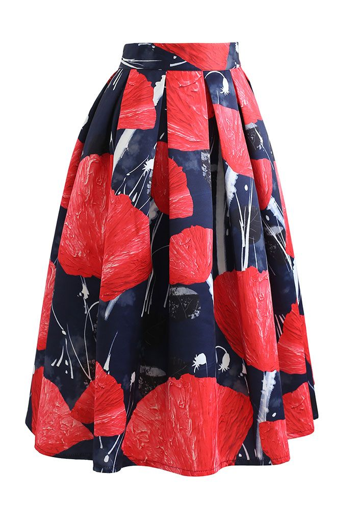 Red Blossom Print Pleated Flared Skirt