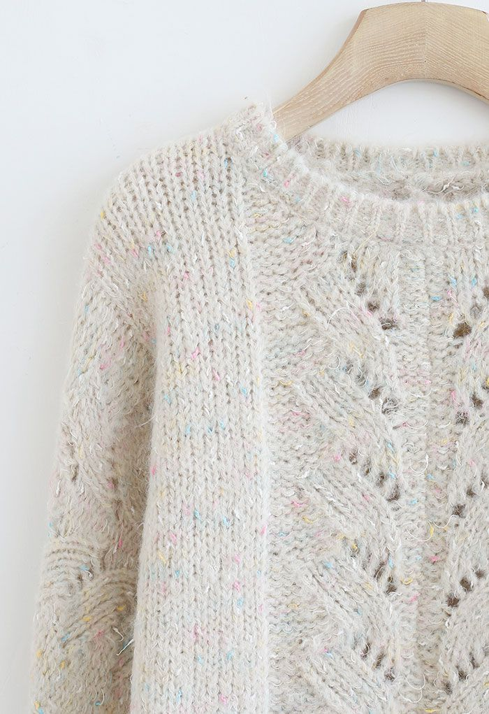 Mix Color Knit Hollow Out Sweater