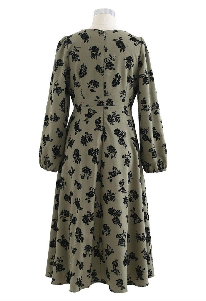 Posy Print Lacey Square Neck Midi Dress in Olive