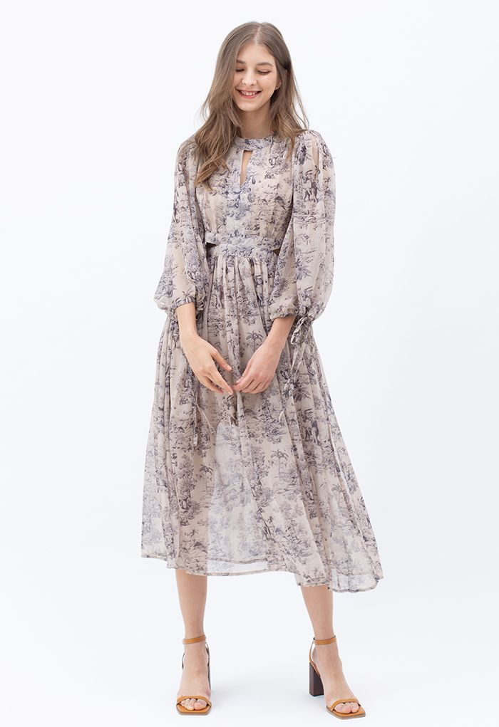 Zoo Land Print Cutout Chiffon Midi Dress
