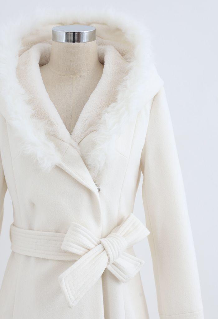 Faux Fur Hooded Wool-Blend Flare Coat in White