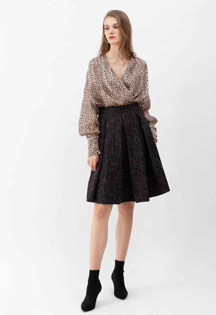 Flare Pleated Wool-Blend Skirt in Black