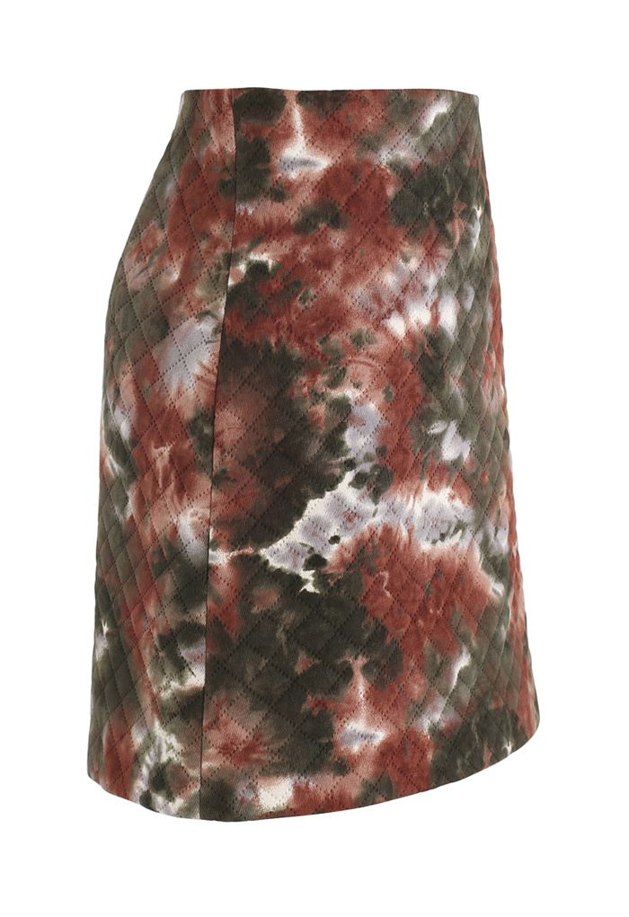 Tie-Dye Quilted Bud Mini Skirt