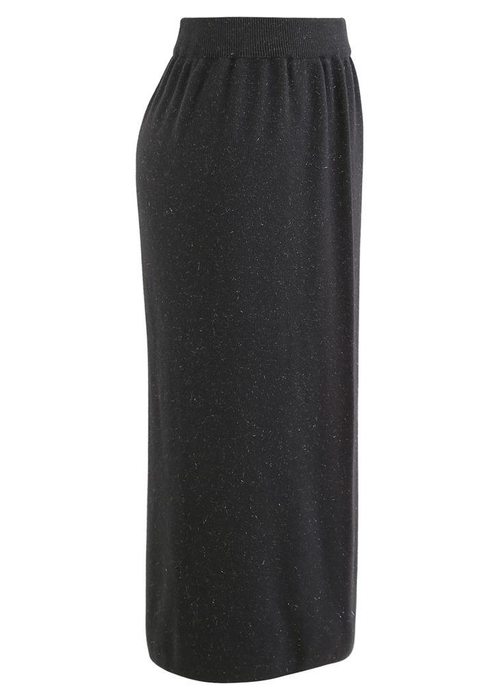 Metallic Thread Slit Back Rib Knit Skirt in Smoke