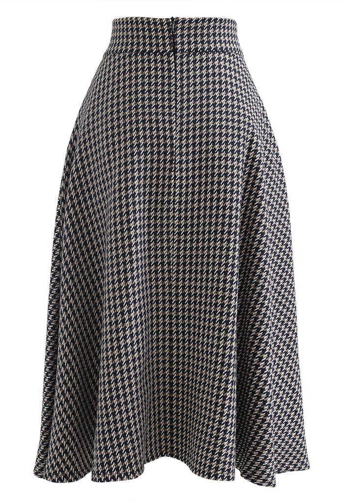 Houndstooth Tweed Textured A-Line Midi Skirt