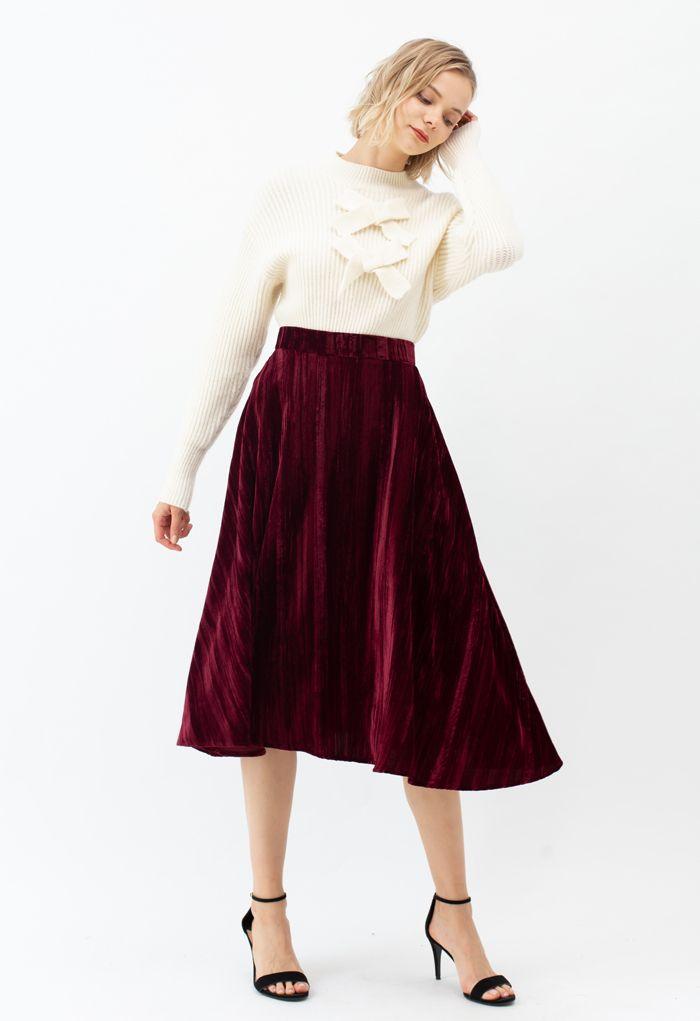 Velvet Flare Hem Midi Skirt in Wine