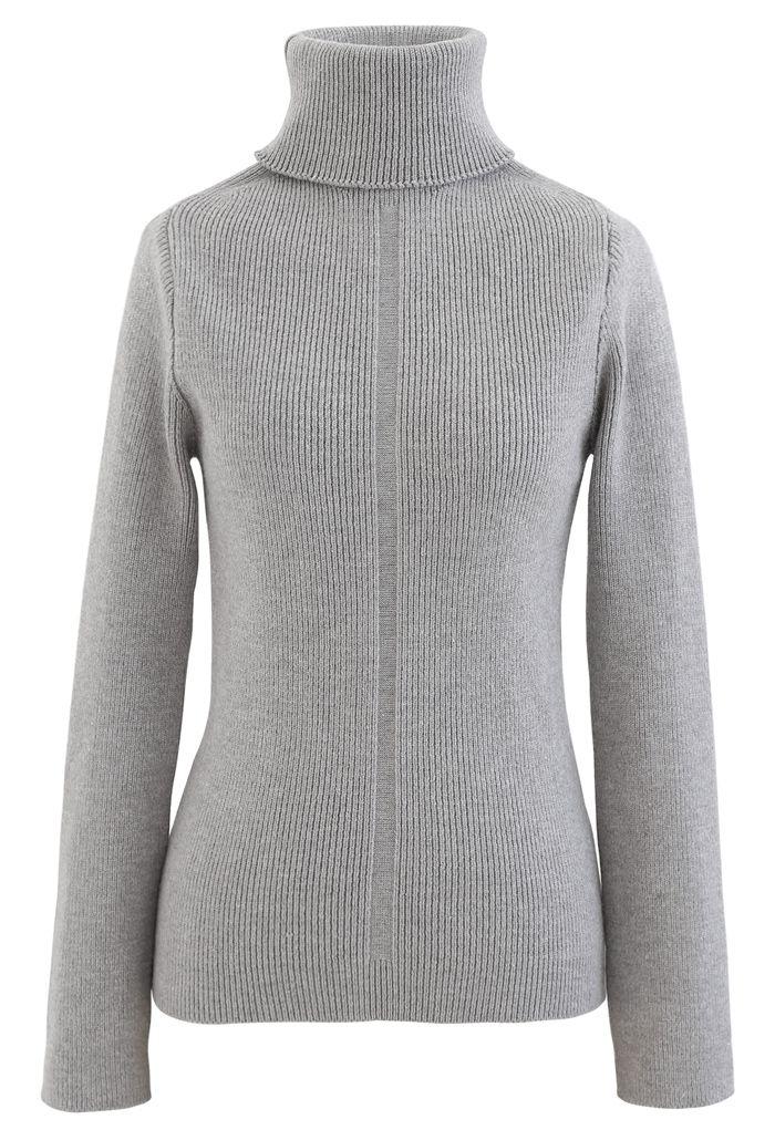 Grey Turtleneck Ribbed Knit Sweater