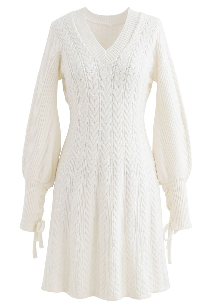 Lace Up Sleeves V-Neck Braid Knit Dress in Ivory